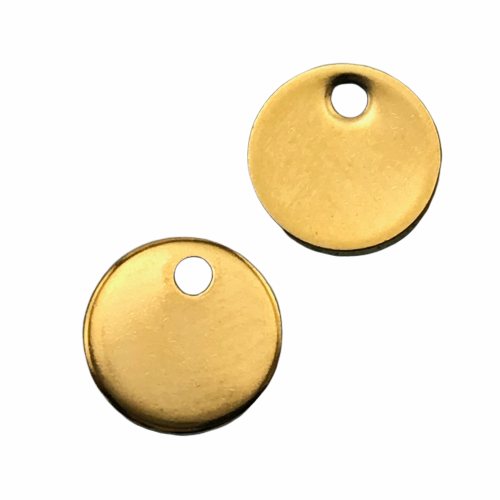 Stainless Steel Round Tag Charms Golden Colour, 8mm - 10 Pack