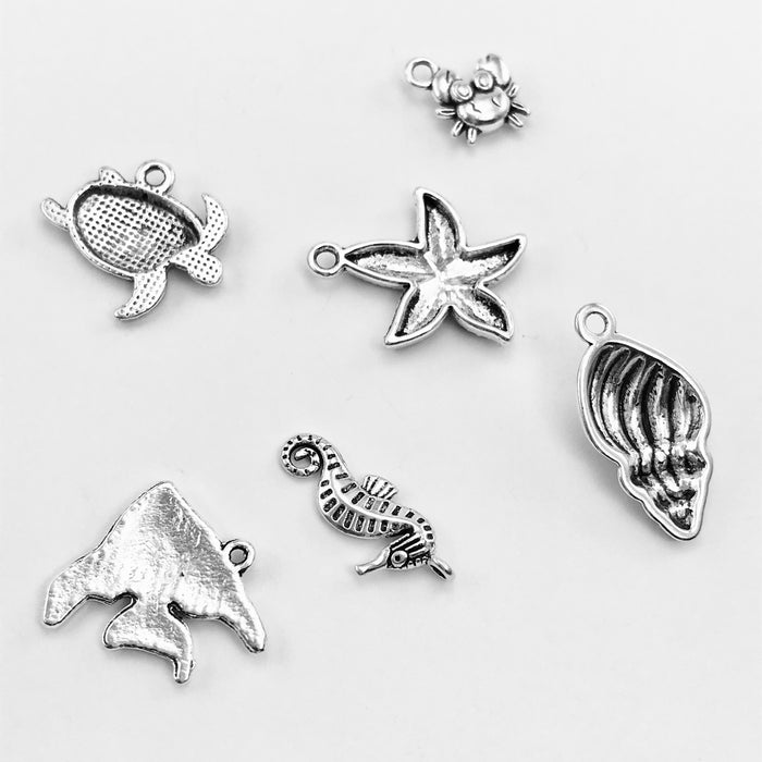 Ocean Theme Pendant Charm Set Antique Silver, Assorted Sizes - 6 pack