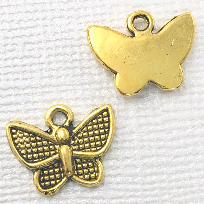 Antique Gold Colour Butterfly Pendant Charms, 13mm - 12 pack