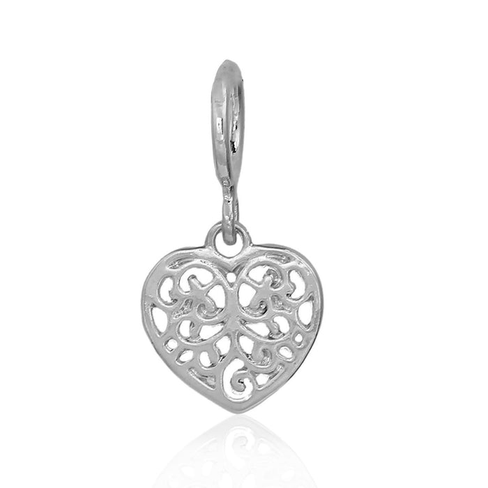 silver jewelry charm in a filigree heart design