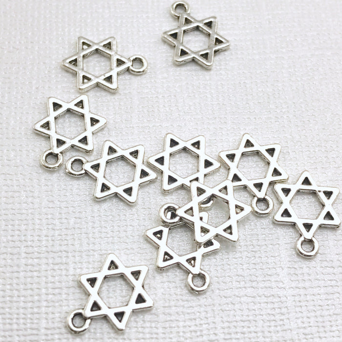 Star of David Pendant Charms Silver Tone, 14mm - 10 pack