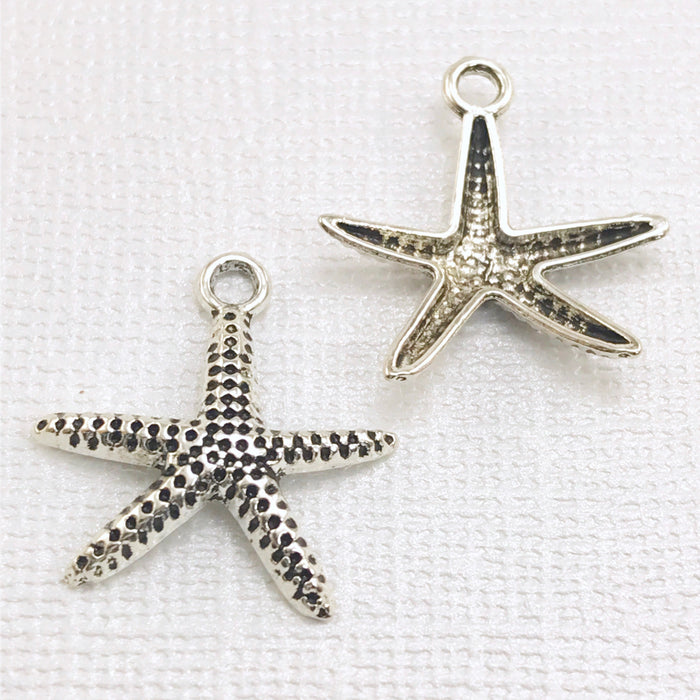 Antique Silver Plated Starfish Pendant Charms, 20mm - 10 pack