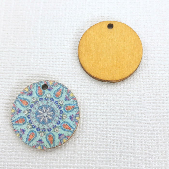 Mandala Printed Wood Jewelry Pendant Charms, 20mm - 10 pack