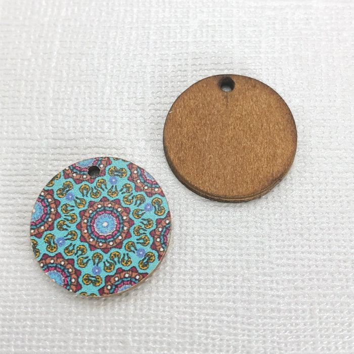 Wood Jewelry Pendant Charms Mandala Pattern, 20mm - 10 pack