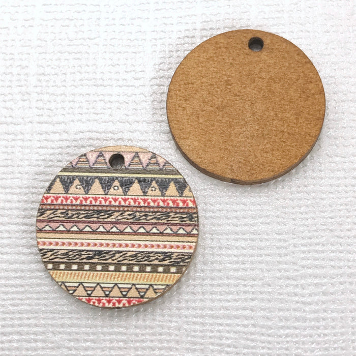 Zentangle Wood Pendant Charms, 20mm - 10 pack