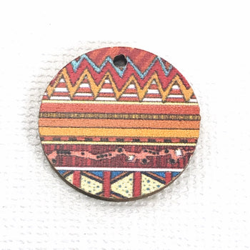 round wood jewelry charm with zentangle pattern print