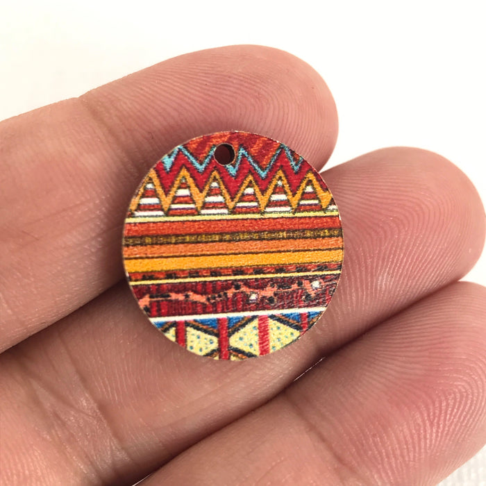 Zentangle Design Wood Pendant Charms, 20mm - 10 pack