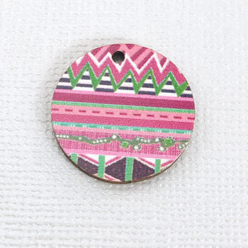 round wood jewelry charms with pink zentangle print