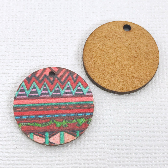 Zentangle Southwest Design Wood Pendant Charms, 20mm - 10 pack