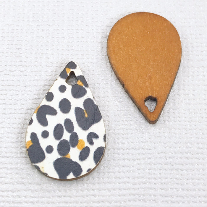 Drop Shape Wood Jewelry Charms With Leopard Print, 23mm - 10 pack