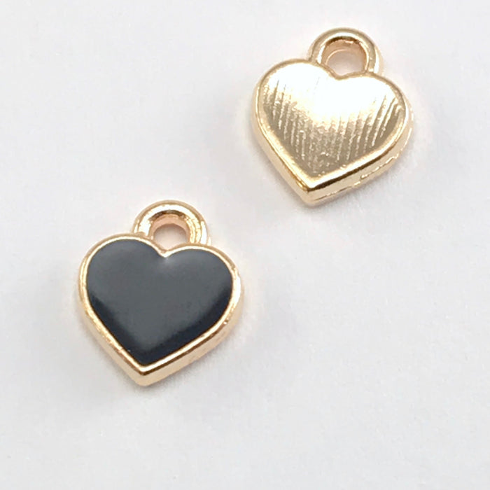 Enamel Black Heart Charms For Jewelry Making, 7mm - 15 pack