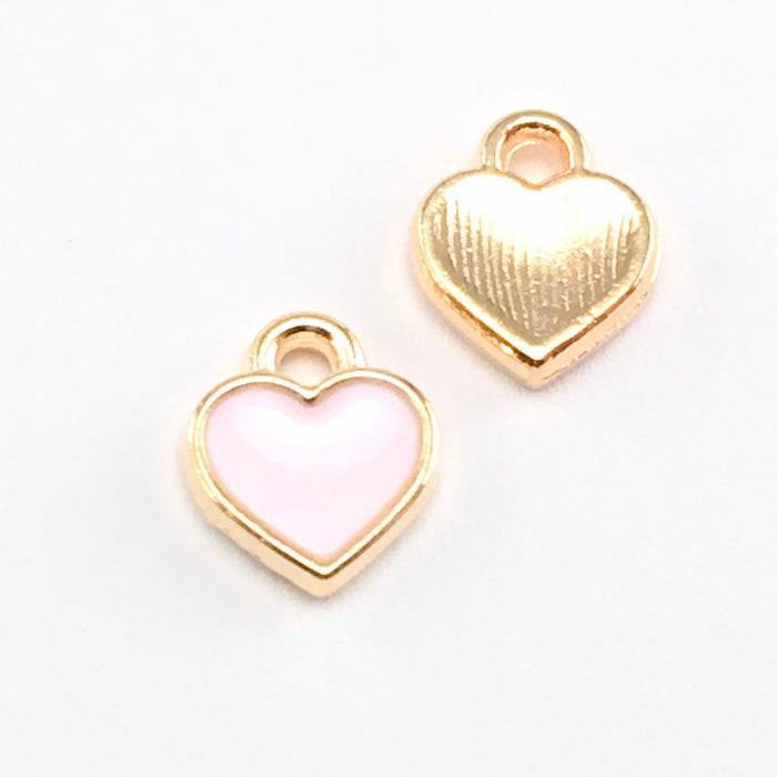 Enamel Pink Heart Charms For Jewelry Making, 7mm - 15 pack