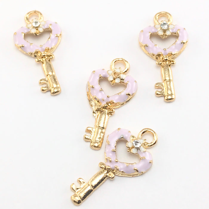 Enamel Purple Key Pendant Charms For Jewelry Making, 22mm - 4 pack
