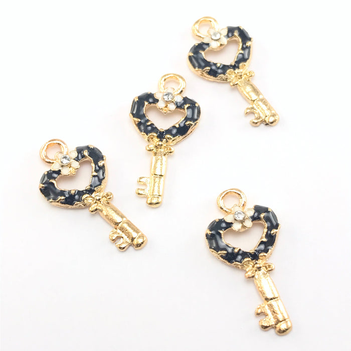 Enamel Black Key Pendant Charms For Jewelry Making, 22mm - 4 pack