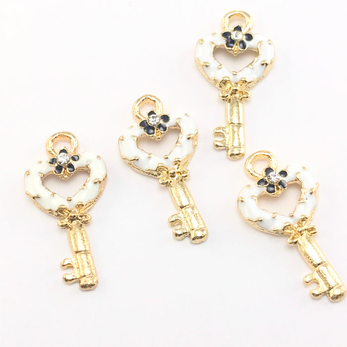 Enamel White Key Pendant Charms For Jewelry Making, 22mm - 4 pack