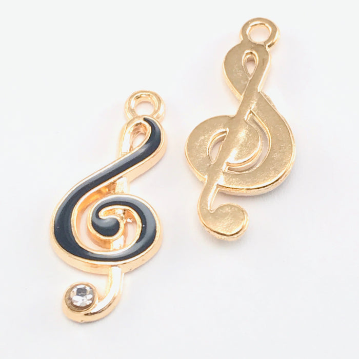 Enamel Black Musical Note Pendant Charms For Jewelry Making, 22mm - 5 pack