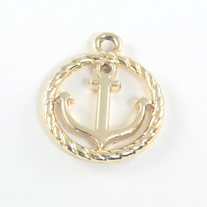 Gold Tone Anchor Jewelry Charms, 19mm - 5 pack