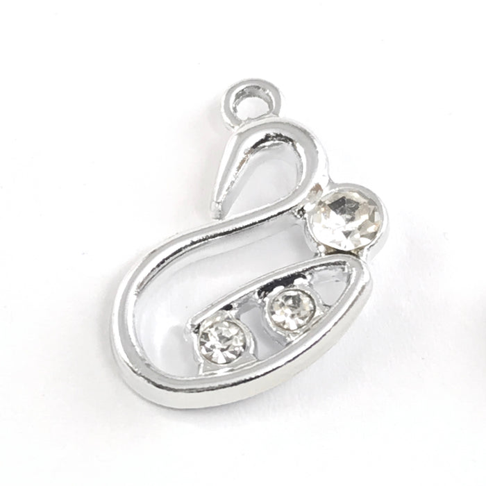 shiny silver swan shaped jewelry charm
