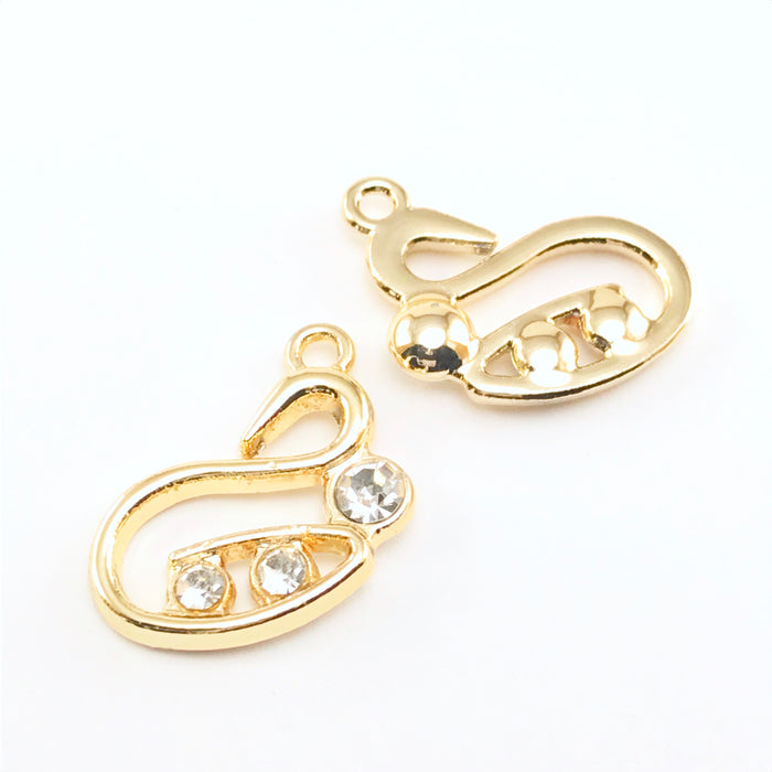Gold Swan Jewelry Charms, 20mm - 5 Pack