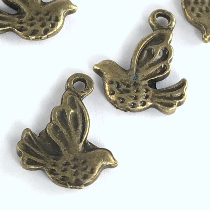 Antique Bronze Bird Pendant Charms, 13mm - 12 pack