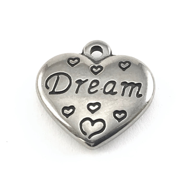 Stainless Steel Heart Shaped Dream Charms, 2 sided, 16mm - 2 Pack