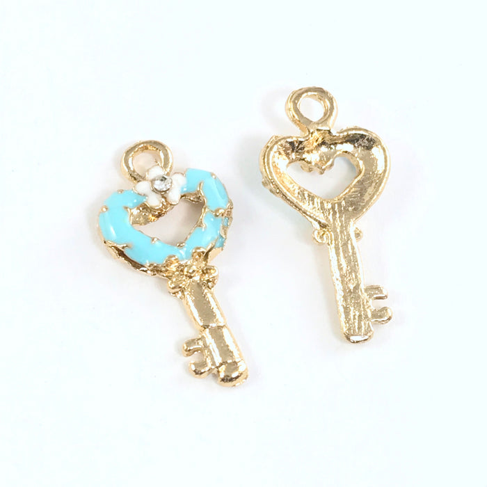 Enamel Blue Key Pendant Charms For Jewelry Making, 22mm - 4 pack