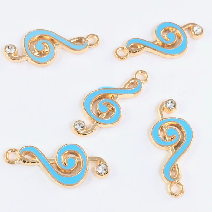 5 blue and gold jewelry charms shaped like music notes