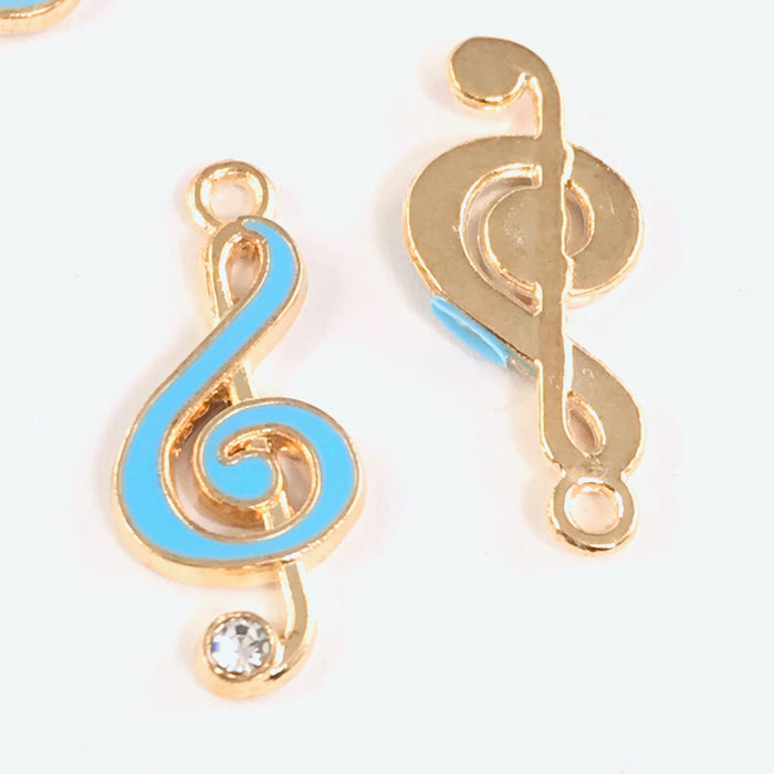 Enamel Blue Musical Note Pendant Charms For Jewelry Making, 22mm - 5 pack