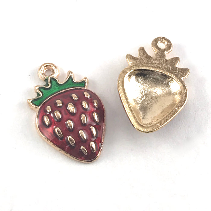 front and back of gold, red and green jewerly charms that look like strawberries