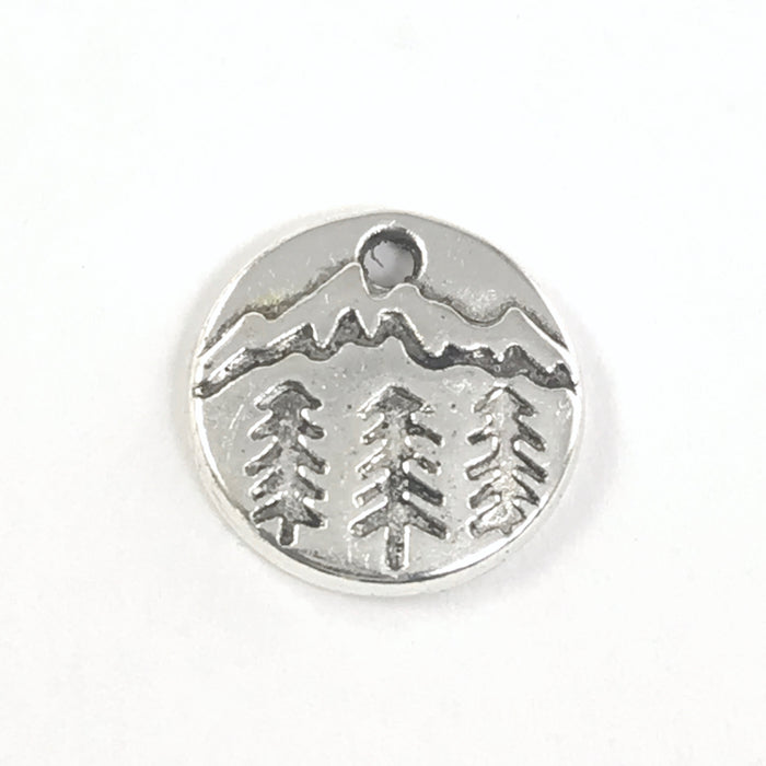 Pine Tree and Mountains Jewelry Charms, 10mm - 10 Pack