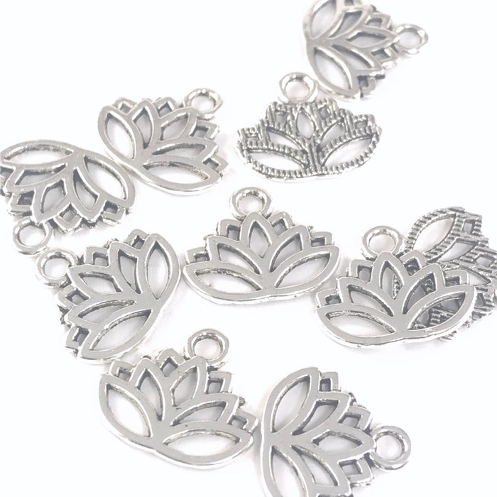 Lotus Flower Jewelry Pendant Charms, 17mm - 10 pack