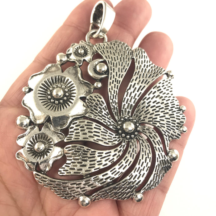 Extra Large Flower Jewelry Pendant, Statement Necklace Pendant, 68mm