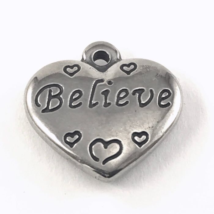 Stainless Steel Heart Shaped Believe Charms, 2 sided, 16mm - 2 Pack