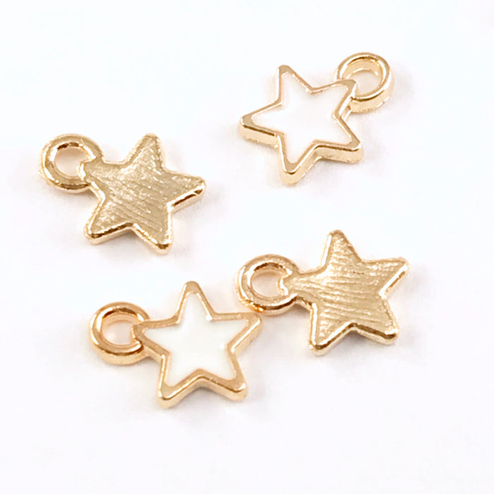 front and back view of white and gold star shaped charms