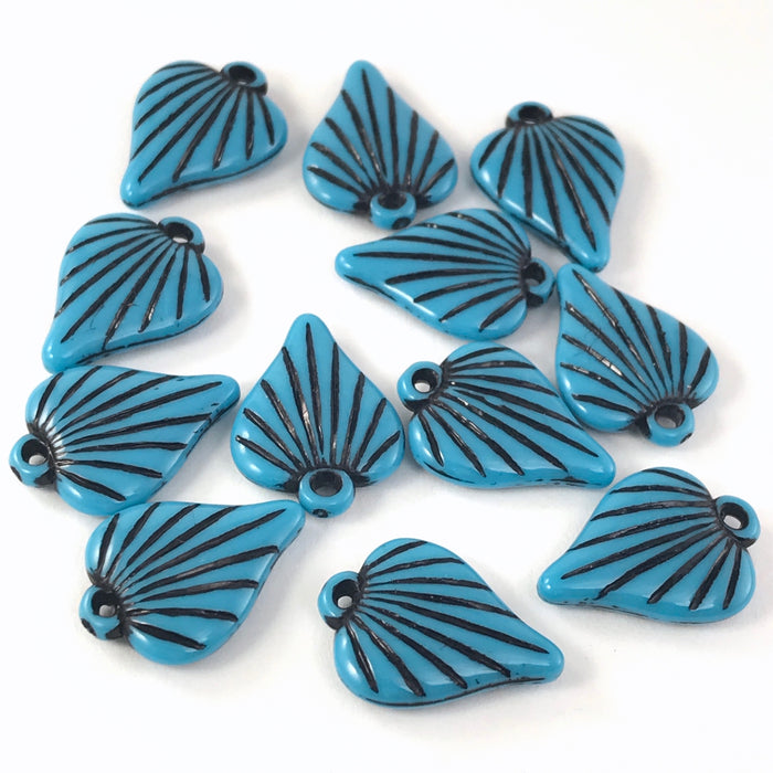 blue and black leaf shaped charms