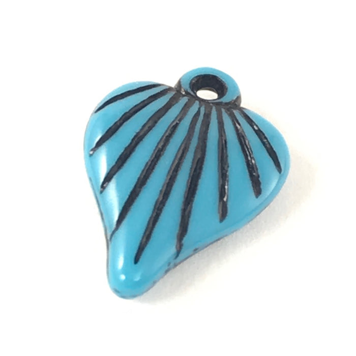 blue and black leaf shaped charm