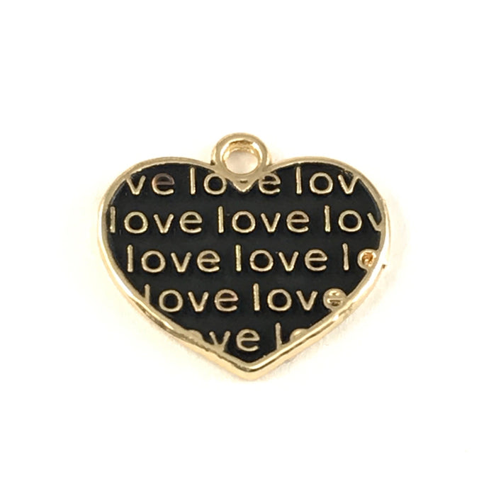 close up of black and gold jewelry charms shaped like hearts with the word love on them