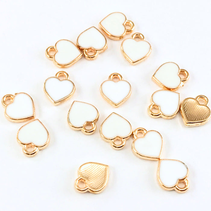 15 white and gold heart shaped jewelry charms