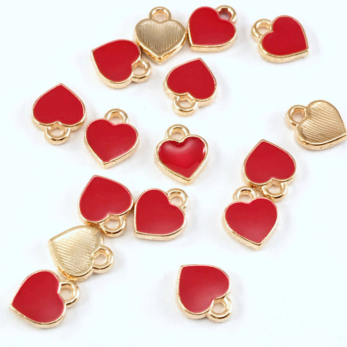 15 red and gold heart shaped jewelry charms