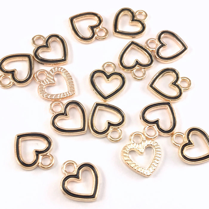 15 black and gold colour heart shaped jewelry charms
