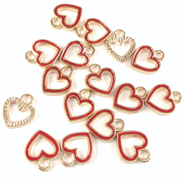 15 red and gold colour heart shaped jewerly charms
