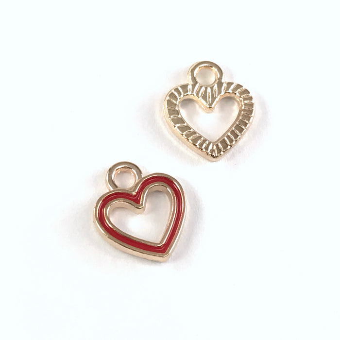 front and back of red and gold colour heart shaped jewerly charms