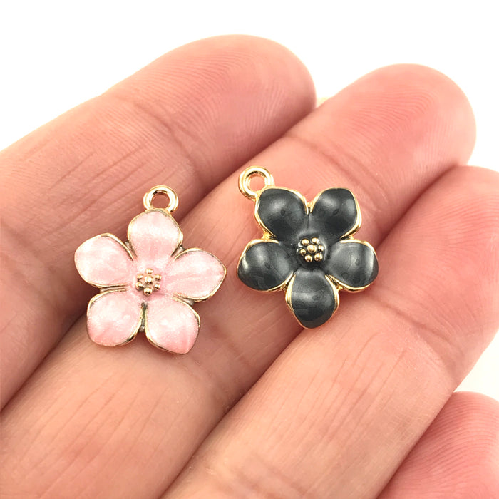Enamel Flower Jewelry Pendant Charms, 17mm - 5 pack