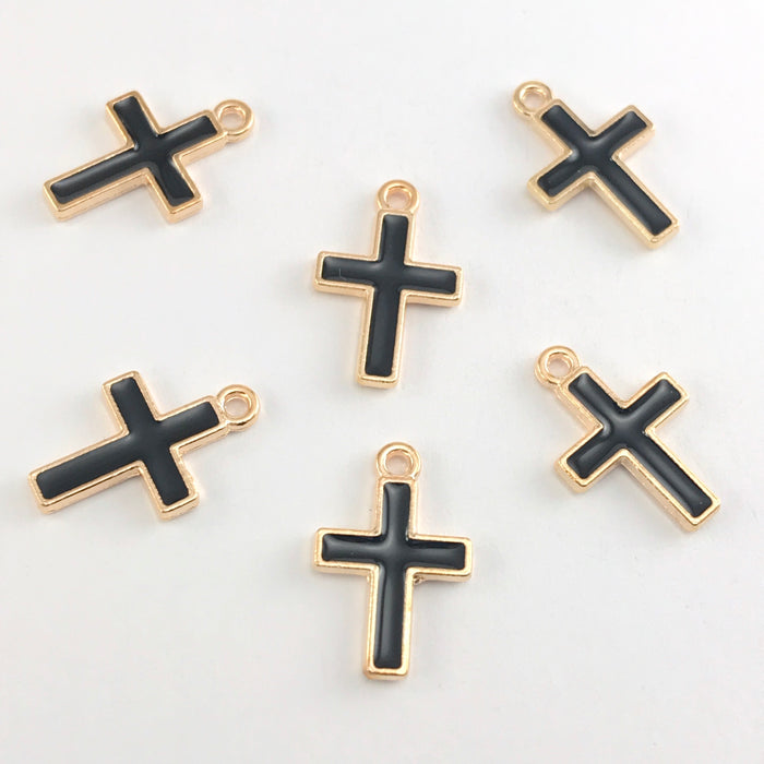 black and gold cross shaped jewelry charms