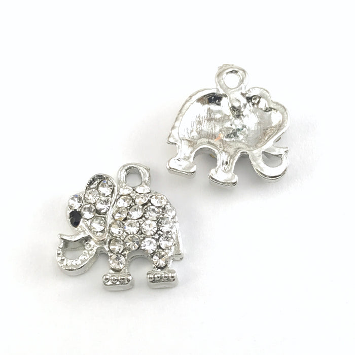 front and back of silver elephant shaped jewelry charm embellished with clear crystal rhinestones