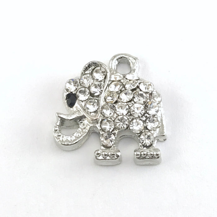 silver elephant shaped jewelry charm embellished with clear crystal rhinestones