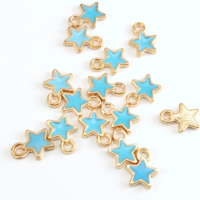 blue and gold colour jewelry charms shaped like stars
