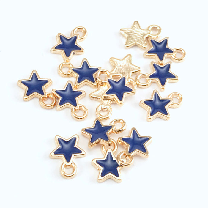 navy blue and gold colour jewerly charms shaped like stars