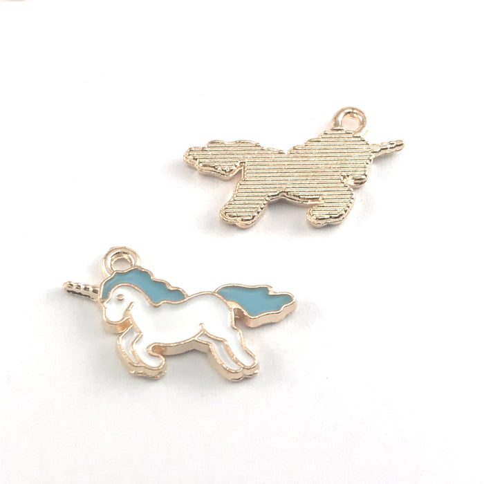 front and back of white blue and gold colour jewerly charms that look lke unicorns