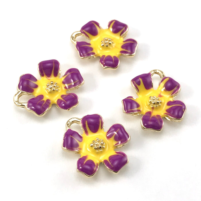 yellow, purple and gold colour jewerly charms shaped like flowers